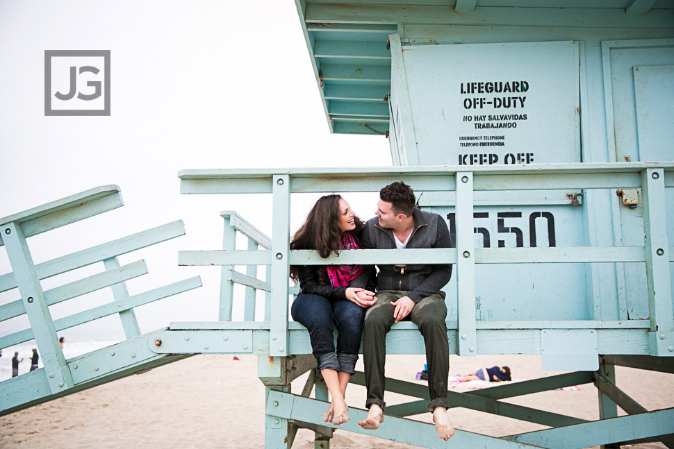 Engagement Photography Santa Monica Lifeguard Stand