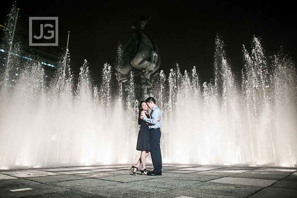 Downtown Los Angeles Engagement Photography Water Fountain
