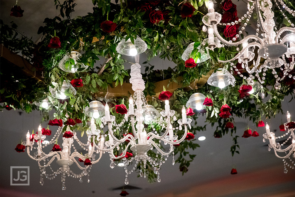 Chandelier made with red roses