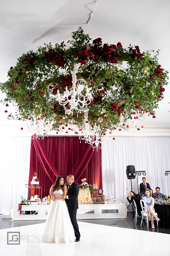 red rose wedding floral chandelier