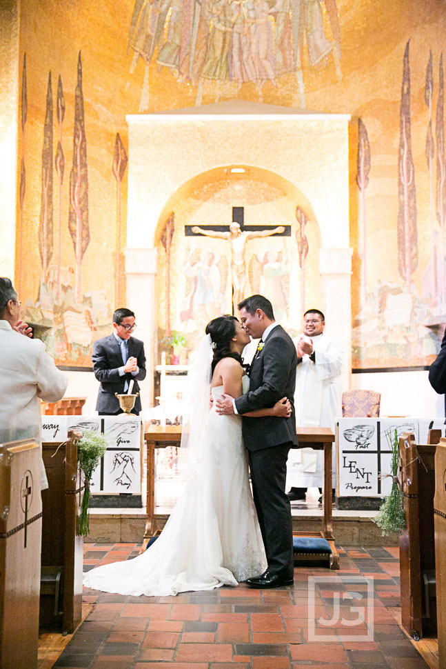 Precious Blood Catholic Church Wedding First Kiss